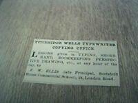 ephemera 1902 advert tunbridge wells f w ellis copying service