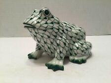 Andrea by Sadek Hand Painted Green Fishnet Frog Figurine