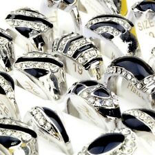 10Stk Großhandel Herren Ring Gemischt Strass Kristall Ringe Hochzeit Schmuck