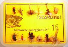 12 mosche artificiali galleggianti pesca a mosca trota lago torrente fiume tp