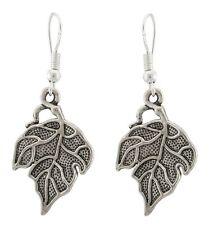 Zest Tibetan Silver Textured Leaf Drop Earrings for Pierced Ears