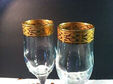 Set of 2 Fumo Bros Gold Encrusted FUG13  Fluted Champagne Glasses  EUC!