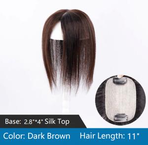 "2.8x4""silk top Virgin human hair topper hairpiece wiglet clip in 7""~13""for women"