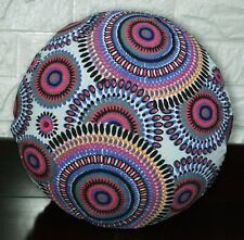 AF256n Blue Grey Flower Cotton Canvas Round Cushion Cover/Pillow Case CustomSize