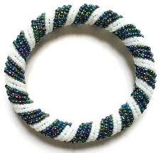Bead Bracelet - Handmade African Kenyan Bangle Jewelry - White Mother of Pearl