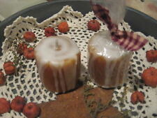 Prim* Hand-poured* Cinnamon Bun Votive Candles* Shelf Sitter* Ornies* set/2