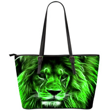 Green Lion Leo Wild Animal - Leather Tote Bag Christmas Gift