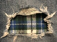 """Set of 2 Black, Green And Blue Plaid 4"""" x 4"""" Iron on Peek-A-Boo Jean Patches"""