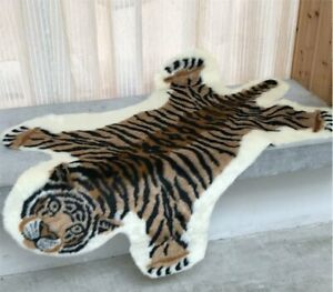 1x Tiger Print Animal Faux Area Rug Non-Slip Carpet Rugs Door Mat Living Bedroom