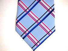 """NWT Bachrach Mens Necktie Tie Blue Pink Perez Plaid 100% Silk 60"""""""