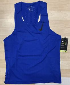 Nike Men's Aeroswift Running Singlet Sz. Medium CJ7835-405 BLUE