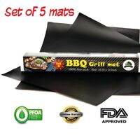 Grill Mat 5 Bbq Non Stick Mats Grilling Bake Cooking Sheet Reusable Barbecue