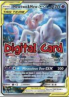 Mewtwo /& Mew GX RAINBOW RARE Pokemon Online TCG Card digital 242 236 RR