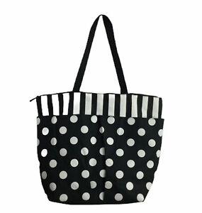 Black and White Polka Dot Stripe Extra Large Tote Bag Shopper Unbranded