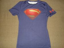 UNDER ARMOUR Heat Gear Super Man Shirt BOY'S Size: Young Large Fitted