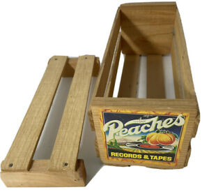 Peaches Vintage Wooden Crate Cassette Holder Storage Crate Tape Case with insert