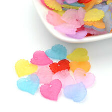 100pcs Colorful Transparent Leaf Acrylic Pendants Frosted Small Charm Craft 14mm