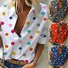Women Polka Dot Loose V-Neck Blouse T Shirt Ladies Long Sleeve Tops Casual HOT