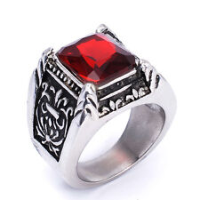 Mens Stainless Steel Rings Red Silver Vintage Jewelry Ruby Crystal Knight Ring