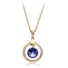 18K ROSE GOLD PLATED GENUINE AUSTRIAN CRYSTAL CLEAR & CZ PURPLE  NECKLACE