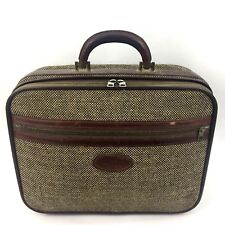 Vintage Fulton Suitcase Leather Goods Solight Luggage Tweed Travel Bag 15x12x5