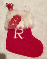 "St. Nicholas Square Velvet Monogram ""R"" Mini 7"" Red Initial Stocking. Christmas"