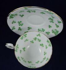 VINTAGE AYNSLEY ENGLAND BONE CHINA GREEN SHAMROCK CLOVER SWIRL TEA CUP & SAUCER