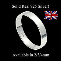 925 Solid Sterling Silver 3mm x 2mm Flat-Shaped Wedding Band