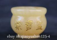 "2.2"" Chinese Yellow Jade Hand Carving Wealth Money Treasure Bowl Pot Jar Crock"