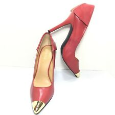 Women's Fergie Red Gold Pointed Leather Classic High Heel Pumps Size 10 M