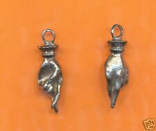 lead free pewter hand charm 1167