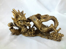 CHINESE XL COPPER BRASS LUCKY DRAGON FIGURE ORNAMENT VINTAGE ANTIQUE STYLE R1