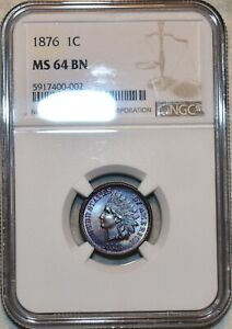 NGC MS-64 BN 1876 Indian Head Cent, Beautifully toned specimen.