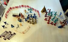 Vintage 63 Piece Plastic Toy Cowboys Indians Civil War Mixed Lot