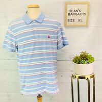 Brooks Brothers Mens Slim Fit Performance Polo Shirt Blue Red Stripe Size XL