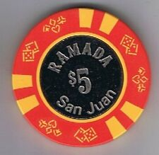 Ramada Hotel $5.00 Coin Center Yellow Insets Casino Chip San Juan Puerto Rico