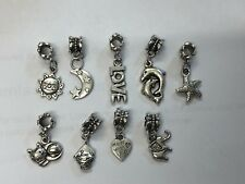 9 x Set Tibetan Silver Dangle Charm Bracelet Beads Cat Sun Fish Dolphin Sun Love
