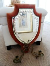 """antique VENETIAN MIRROR bubble edge 21"""" padded shield CANDLE SCONCES layer glass"""