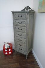 French Baroque 7 Drawer Tallboy Weathered Oak Finish - Lingerie Chest Of Drawers