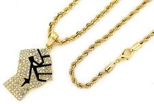 "24"" 4mm Rope Black Lives Matter Kc7519 14K Gold Pt Black Power Fist Pendant w"