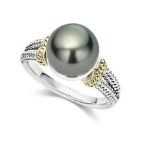 925 Silver Fashion Rings Round Cut Black Pearl Women Wedding Ring Size 6-10