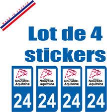 4 STICKERS PLAQUE AUTO IMMATRICULATION DEPARTEMENT 24 logo AQUITAINE Lion Rouge