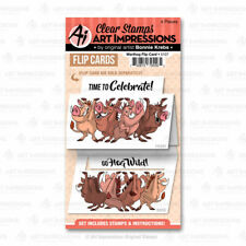 Warthog Flip Cards Set Clear Unmounted Rubber Stamp Set ART IMPRESSIONS 5107 New