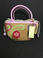 SIGRID OLSEN Straw Wood Beads Flowers Canvas Drawstring Lining Summer Purse NWT