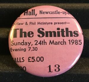 THE SMITHS Concert Ticket Stub Pin Button Badge Morrissey Marr UK Tour 1985