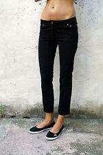 JECKERSON Stretch Straight Fit Nero Jeans in Denim Pantaloni UK10/Uk12 Slim Fit