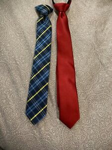 LOT OF 2 YOUTH KIDS BOYS NECK TIES CLIP ON STYLE EXC COND DOCKERS
