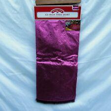 "Holiday Time 52"" Pink Glitter Tree Skirt Merry Christmas Zipper Closure XL Size"