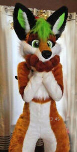 Halloween Long Fur Husky Dog Fox Fursuit Mascot Costume Suit Cosplay Dress