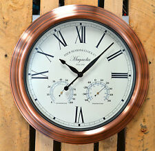 Large Outdoor/Indoor Garden Wall Clock Thermometer Humidity Four Seasons Vintage